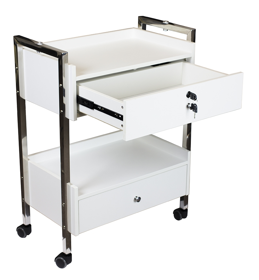 Salon cart with two drawers day spa equipment carts and for Salon trolley