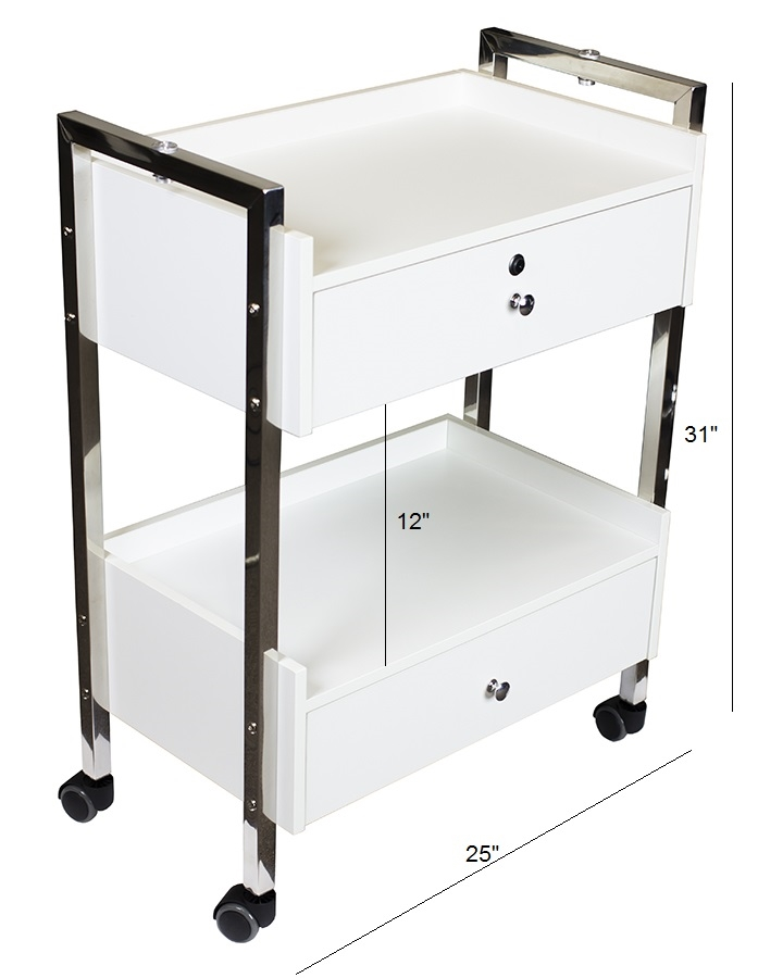 Salon cart with two drawers day spa equipment carts and for Mobile beauty therapist table