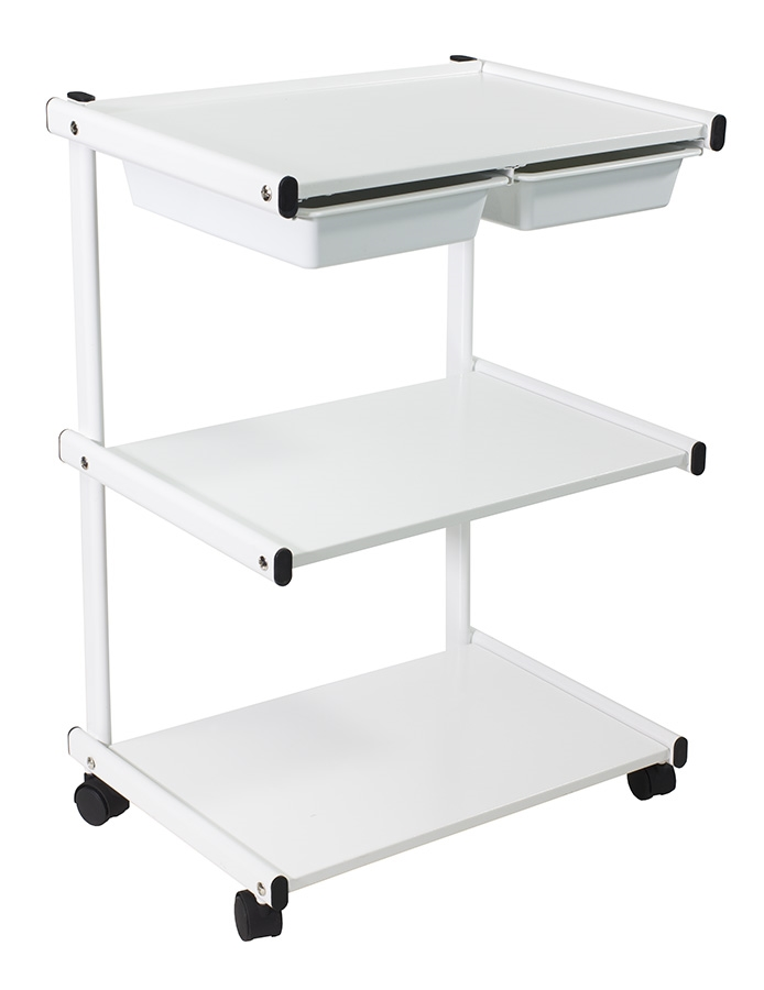 Metal Trolley With 2 Plastic Bins Esthetician Carts And